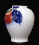 Japanese Fukagawa Vase Relief Persimmon Sg
