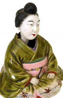 Old Japanese Banko Doll Nodder Geisha Kimono