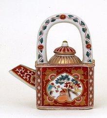 Old Japanese Imari Kutani Sq Teapot Mk