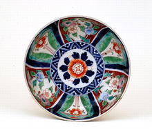 Old Japanese Imari Green Flowers Bowl