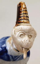 19C Japanese Hirado Monkey Nodder Doll Tongue