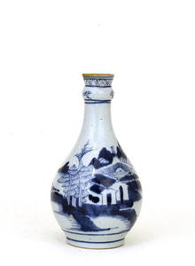 19C Chinese Export Canton Blue & White Vase
