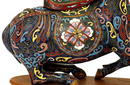 Pair Old Chinese Cloisonne Horse Donkey