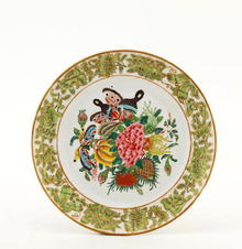 19C Chinese Famille Rose FitzHugh Borde Plate