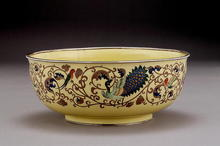 Old Japanese Yellow Cloisonne Bowl w Peacock