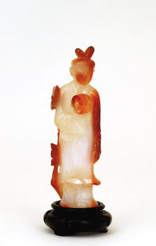 Old Chinese Agate Carved Court Lady Figurine