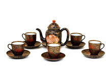 Meiji Japanese Kutani Imari Lacquer Tea Set