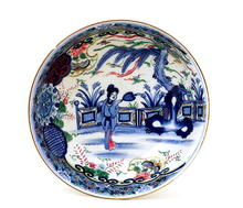 Old Japanese Imari Porcelain Bowl with Lady