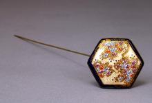 Old Japanese Satsuma Button Hex Cobalt Hairpin