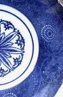 Old Japanese Print Blue & White Imari Plate