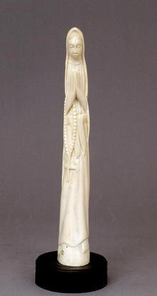 Vintage African Ivory Tusk Carved Madonna