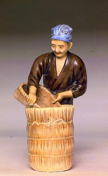 Old Japanese Kutani Imari Figurine Rice Farmer