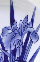 Meiji Japanese Blue & White Hirado Iris Plate