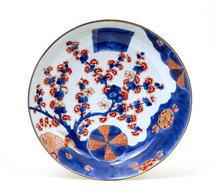 Old Japanese Imari Kutani Plate w Plum Blossom