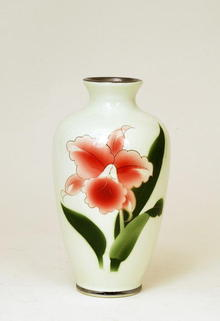 Japanese Painted Porcelain Vase w Orchid