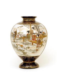 Lg Meiji Japanese Cobalt Blue Satsuma Vase