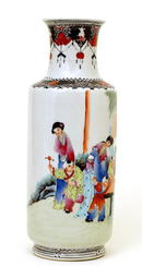 Lg Old Chinese Famille Rose Vase w Figurine Mk
