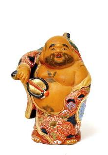 Japanese Kutani Moriage Hotei Figurine Mk