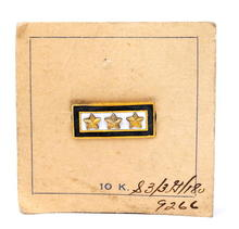 Vintage Military WWII 10K Gold 3 Stars Pin