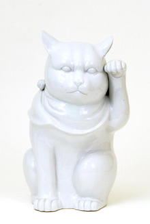 Lg Japanese Kutani White Welcome Cat Maneki