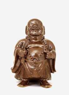 Old Chinese Irradiance Brown Glaze Happy Buddha