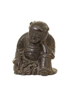 19C Japanese Bronze Resting Boy Figurine