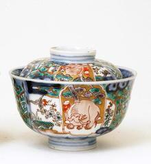 Old Japanese Imari Cov Bowl w Elephant Mk