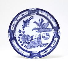 Japanese Imari Blue & White Plate w Bird