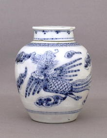 19C Chinese Export Blue & White Tea Caddy