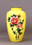 Lg Old Japanese Yellow Cloisonne Vase w Rose