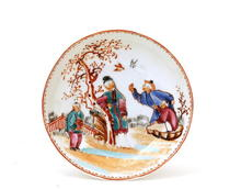 19C Chinese Famille Rose Figurine Dish Plate