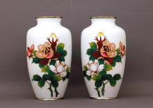 2 Old Japanese White Cloisonne Vase Rose