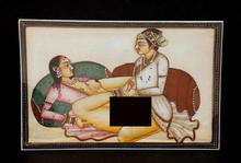 Indian India Ivory Miniature Painting Erotica Nude Sex