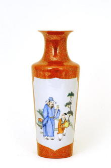 Old Chinese Famille Rose Coral Red Vase