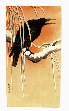 Old Japanese Woodblock Print Sg Koson w Crow