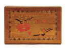 Old Japanese Inlaid Wood Puzzle Box Bird Flower