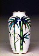 Old Japanese Cloisonne Vase w Bamboo