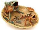 Old Japanese Satsuma 2 Frog Shell Shp Dish