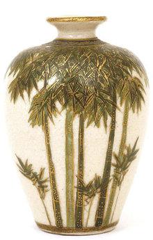 Old Japanese Satsuma Vase w Bamboo Sg