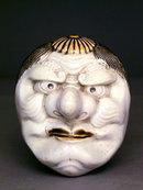 19C Japanese Hirado Ware Box with Noh Mask