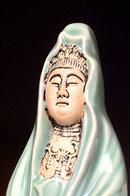 Old Japanese Celadon Kutani Quan Yin Figurine