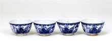 4 Old Japanese Blue & White Imari Seto Sake