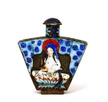 Old Chinese Enamel Quan Yin Buddha Snuff Bottle Mk