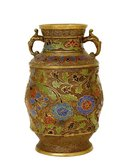Old Japanese Bronze Champleve Vase