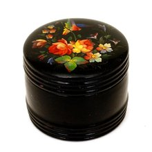 Old Russian Hand Painted Lacquer Box w Bird Sg