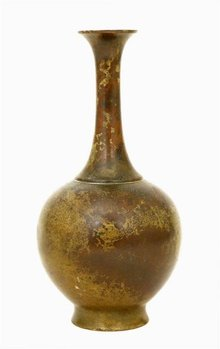 Old Japanese Bronze Vase Olive Patina
