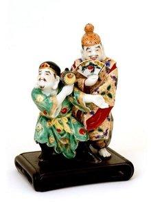 Old Japanese Kutani 2 Dancing Figurine Diakoku