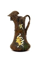 Old Studio Pottery Pitcher Bird Head Flower