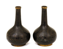 2 Old Chinese Cloisonne Black Dragon Vase