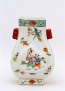 Old Chinese Famille Rose Ears Vase Figurine